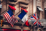 drapeaux USA UK France