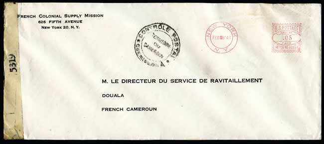Lettre de la French supply Mission à New York pour le Cameroun
