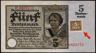 billet Rentenmark avec Kupon de 5 Mark