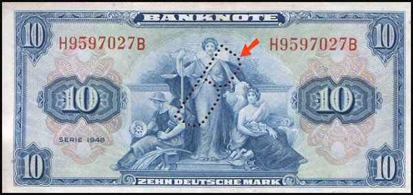 Billet de Deutsche mark perforé B pour Berlin