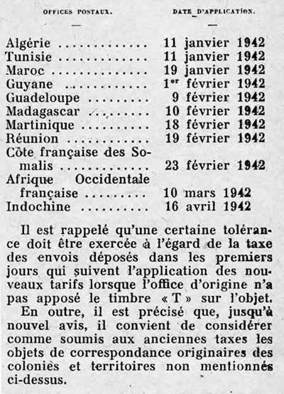 Application du tarif de 1942