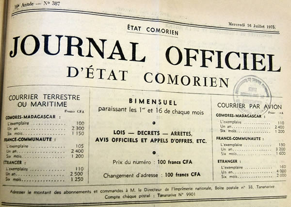 er Journal Officiel de l'Etat Comorien