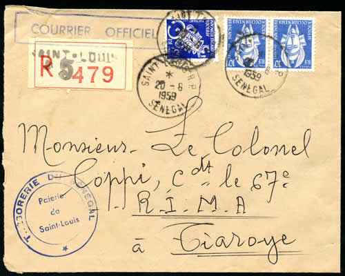 Courrier officiel timbres AOF