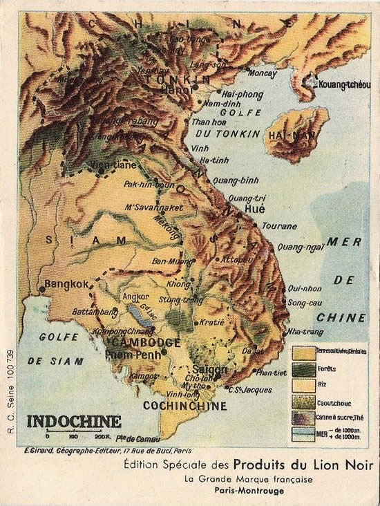 Carte de l'Indochine physique