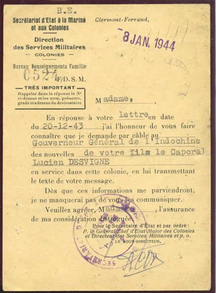 relations postales et t u00e9l u00e9graphiques indochine france 1943